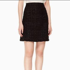 NWT Kate Spade Black Mini sparkle Tweed Skirt